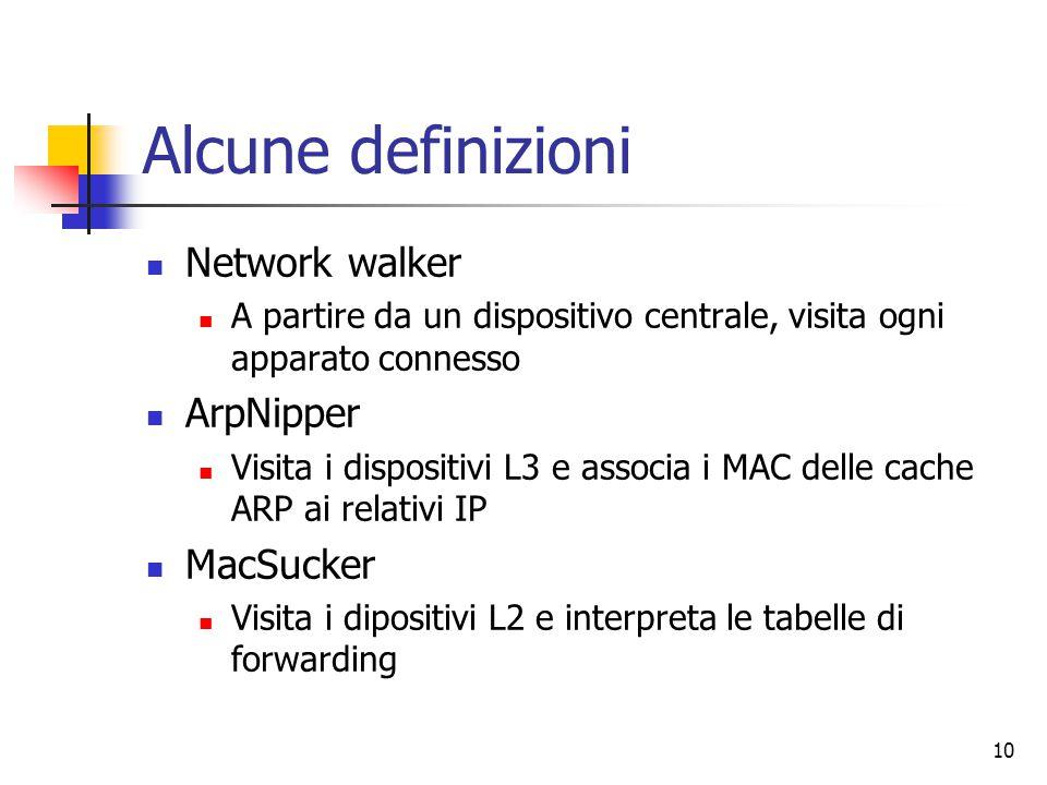 10 Alcune definizioni Network walker A partire da un dispositivo centrale, visita ogni apparato connesso ArpNipper Visita i dispositivi L3 e associa i MAC delle cache ARP ai relativi IP MacSucker Visita i dipositivi L2 e interpreta le tabelle di forwarding