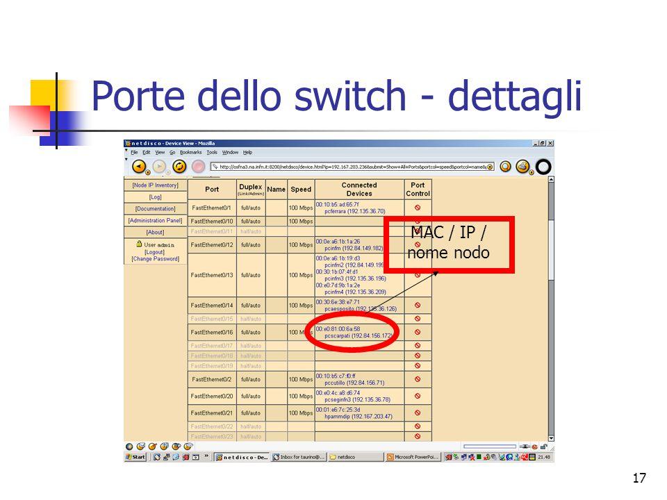 17 Porte dello switch - dettagli MAC / IP / nome nodo