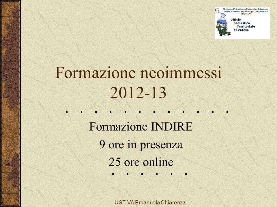 UST-VA Emanuela Chiarenza Formazione neoimmessi 2012-13 Formazione INDIRE 9 ore in presenza 25 ore online