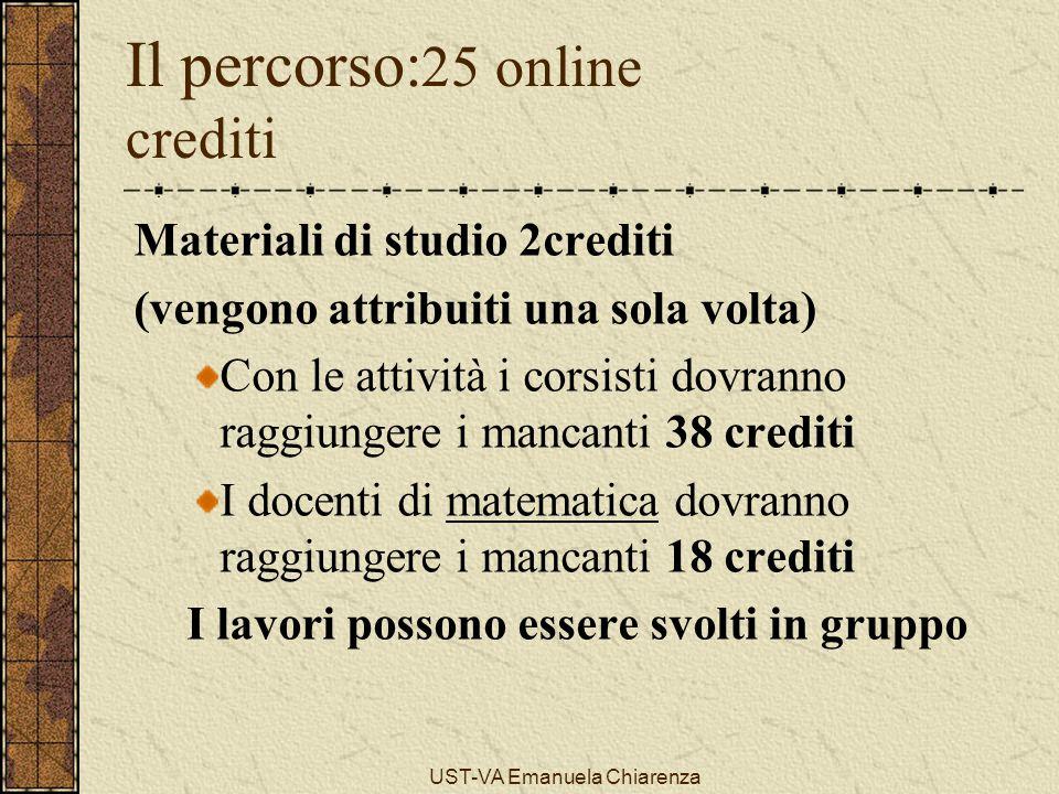 UST-VA Emanuela Chiarenza Il percorso: 25 online crediti Materiali di studio 2crediti (vengono attribuiti una sola volta) Con le attività i corsisti d