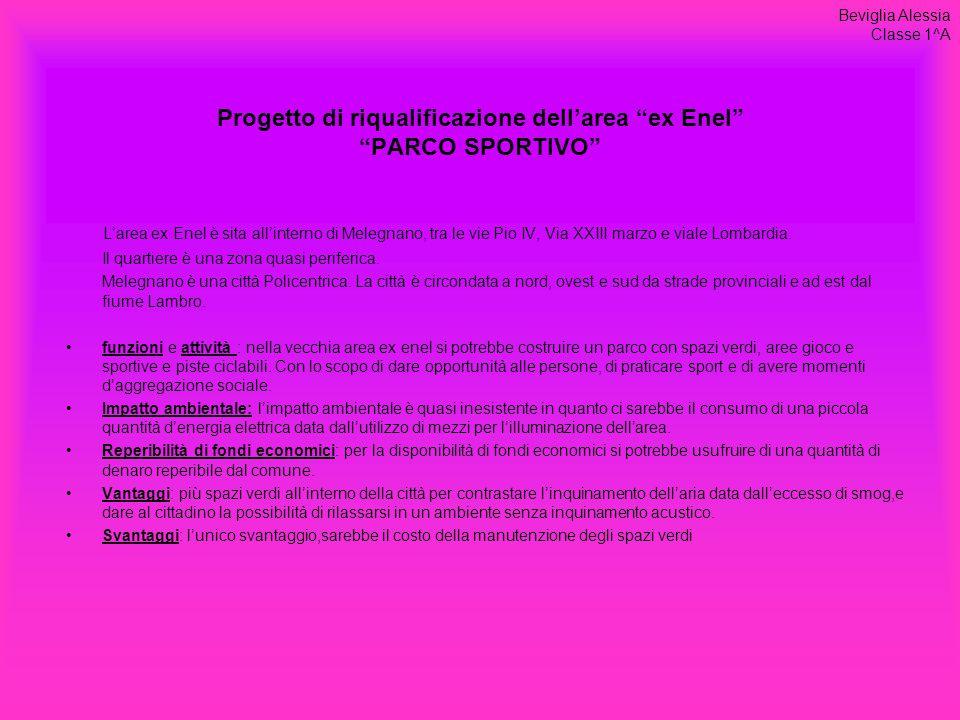 Progetto di riqualificazione dell'area ex Enel PARCO SPORTIVO L'area ex Enel è sita all'interno di Melegnano, tra le vie Pio IV, Via XXIII marzo e viale Lombardia.