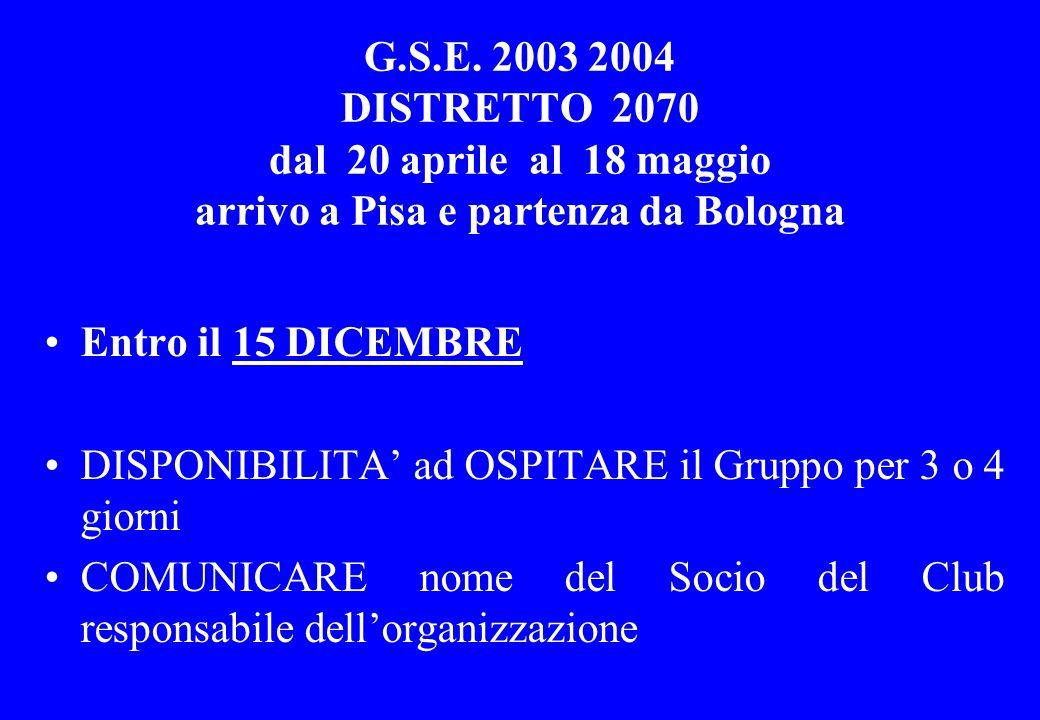 G.S.E. 2003 2004 DISTRETTO 2070 dal 20 aprile al 18 maggio arrivo a Pisa e partenza da Bologna Entro il 15 DICEMBRE DISPONIBILITA' ad OSPITARE il Grup