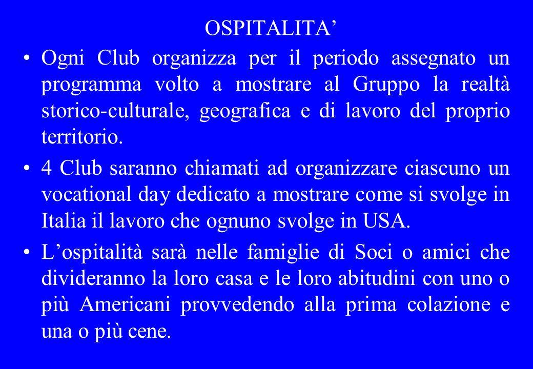 OSPITALITA' Ogni Club organizza per il periodo assegnato un programma volto a mostrare al Gruppo la realtà storico-culturale, geografica e di lavoro d
