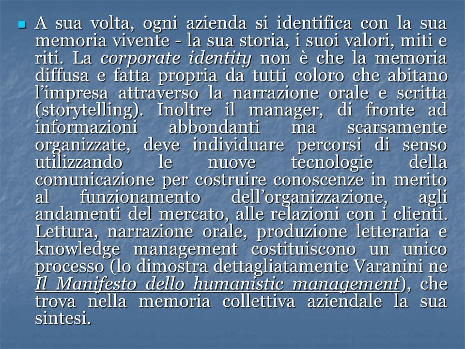 A sua volta, ogni azienda si identifica con la sua memoria vivente - la sua storia, i suoi valori, miti e riti. La corporate identity non è che la mem