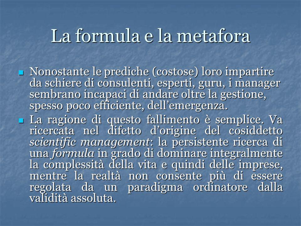 La formula e la metafora Nonostante le prediche (costose) loro impartire da schiere di consulenti, esperti, guru, i manager sembrano incapaci di andar
