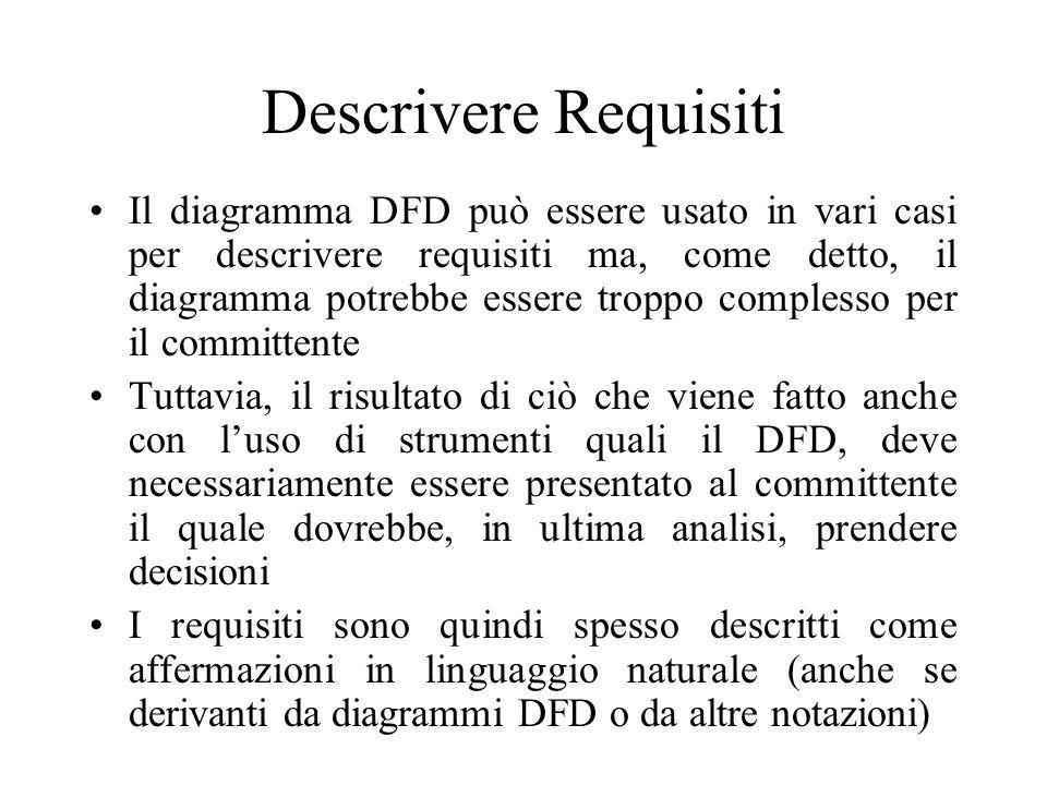 Descrivere Requisiti Il diagramma DFD può essere usato in vari casi per descrivere requisiti ma, come detto, il diagramma potrebbe essere troppo complesso per il committente Tuttavia, il risultato di ciò che viene fatto anche con l'uso di strumenti quali il DFD, deve necessariamente essere presentato al committente il quale dovrebbe, in ultima analisi, prendere decisioni I requisiti sono quindi spesso descritti come affermazioni in linguaggio naturale (anche se derivanti da diagrammi DFD o da altre notazioni)