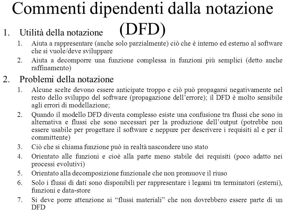 Commenti dipendenti dalla notazione (DFD) 1.Utilità della notazione 1.Aiuta a rappresentare (anche solo parzialmente) ciò che è interno ed esterno al software che si vuole/deve sviluppare 2.Aiuta a decomporre una funzione complessa in funzioni più semplici (detto anche raffinamento) 2.Problemi della notazione 1.Alcune scelte devono essere anticipate troppo e ciò può propagarsi negativamente nel resto dello sviluppo del software (propagazione dell'errore); il DFD è molto sensibile agli errori di modellazione; 2.Quando il modello DFD diventa complesso esiste una confusione tra flussi che sono in alternativa e flussi che sono necessari per la produzione dell'output (potrebbe non essere usabile per progettare il software e neppure per descrivere i requisiti al e per il committente) 3.Ciò che si chiama funzione può in realtà nascondere uno stato 4.Orientato alle funzioni e cioè alla parte meno stabile dei requisiti (poco adatto nei processi evolutivi) 5.Orientato alla decomposizione funzionale che non promuove il riuso 6.Solo i flussi di dati sono disponibili per rappresentare i legami tra terminatori (esterni), funzioni e data-store 7.Si deve porre attenzione ai flussi materiali che non dovrebbero essere parte di un DFD