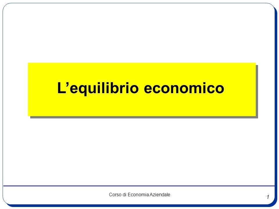 22 Corso di Economia Aziendale L'equilibrio patrimoniale Capitale Investito Valori a breve P b (Passivo corrente ) Valori a non breve A f (Attivo Fisso) Valori a breve A c (Attivo circolante) Valori a non breve N + P ml (Capitale netto e Passività a mlt) Capitale di finanziamento
