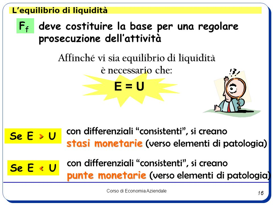 16 Corso di Economia Aziendale L'equilibrio di liquidità E = U deve costituire la base per una regolare prosecuzione dell'attività FfFf Affinché vi sia equilibrio di liquidità è necessario che: con differenziali consistenti , si creano stasi monetarie stasi monetarie (verso elementi di patologia) con differenziali consistenti , si creano punte monetarie punte monetarie (verso elementi di patologia) > Se E > U < Se E < U