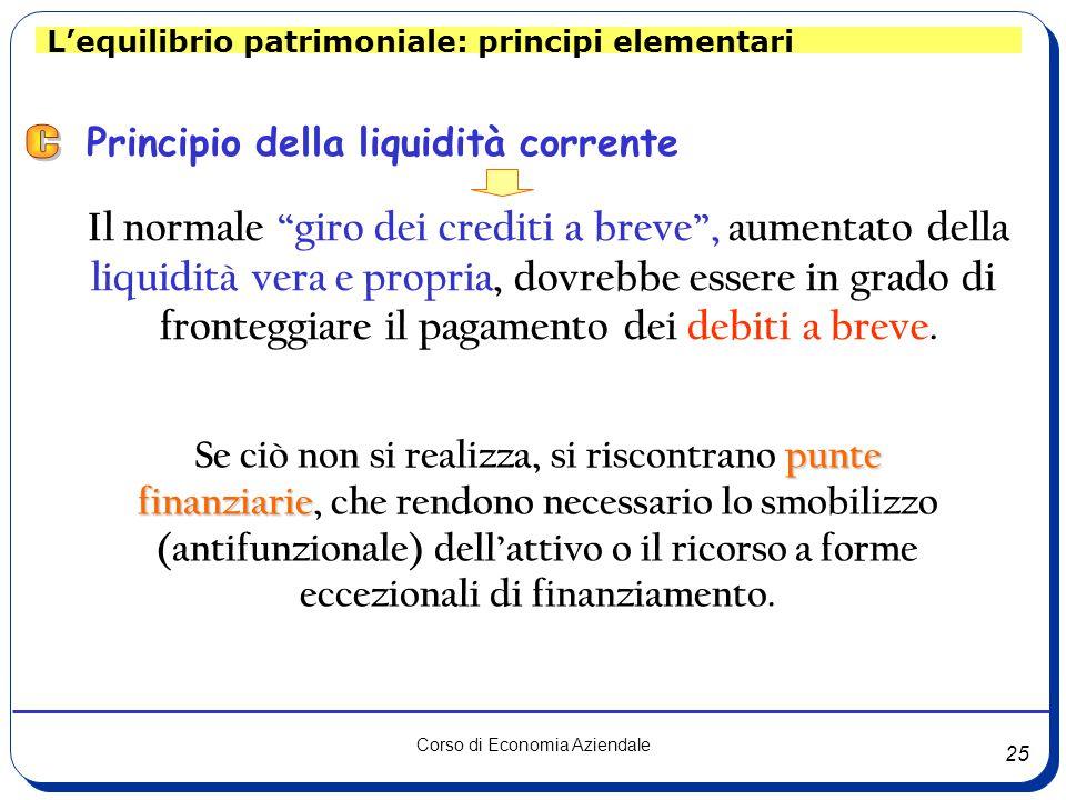 25 Corso di Economia Aziendale Principio della liquidità corrente Il normale giro dei crediti a breve , aumentato della liquidità vera e propria, dovrebbe essere in grado di fronteggiare il pagamento dei debiti a breve.