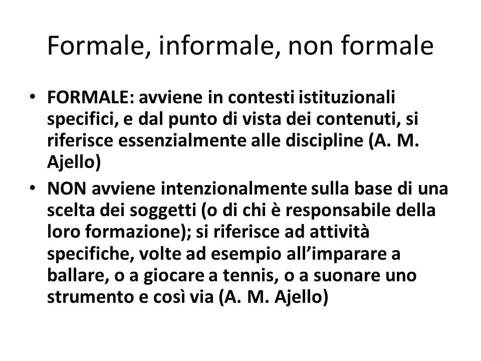 Formale, informale, non formale FORMALE: avviene in contesti istituzionali specifici, e dal punto di vista dei contenuti, si riferisce essenzialmente