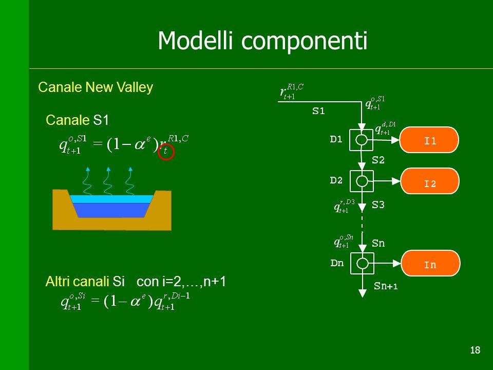 18 Modelli componenti Canale S1 Altri canali Si con i=2,…,n+1 Canale New Valley +