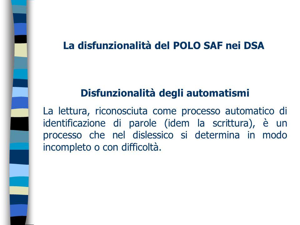 La disfunzionalità del POLO SAF nei DSA Disfunzionalità degli automatismi La lettura, riconosciuta come processo automatico di identificazione di parole (idem la scrittura), è un processo che nel dislessico si determina in modo incompleto o con difficoltà.