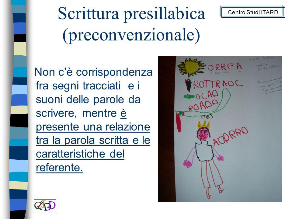 Scrittura presillabica (preconvenzionale) Non c'è corrispondenza fra segni tracciati e i suoni delle parole da scrivere, mentre è presente una relazione tra la parola scritta e le caratteristiche del referente.
