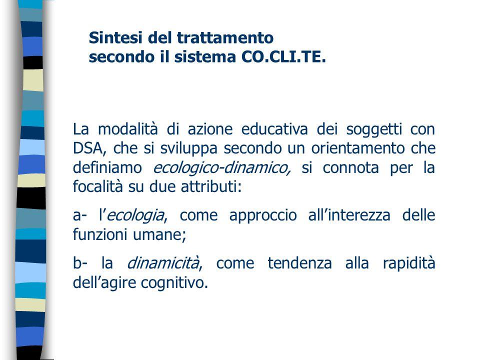 Sintesi del trattamento secondo il sistema CO.CLI.TE.