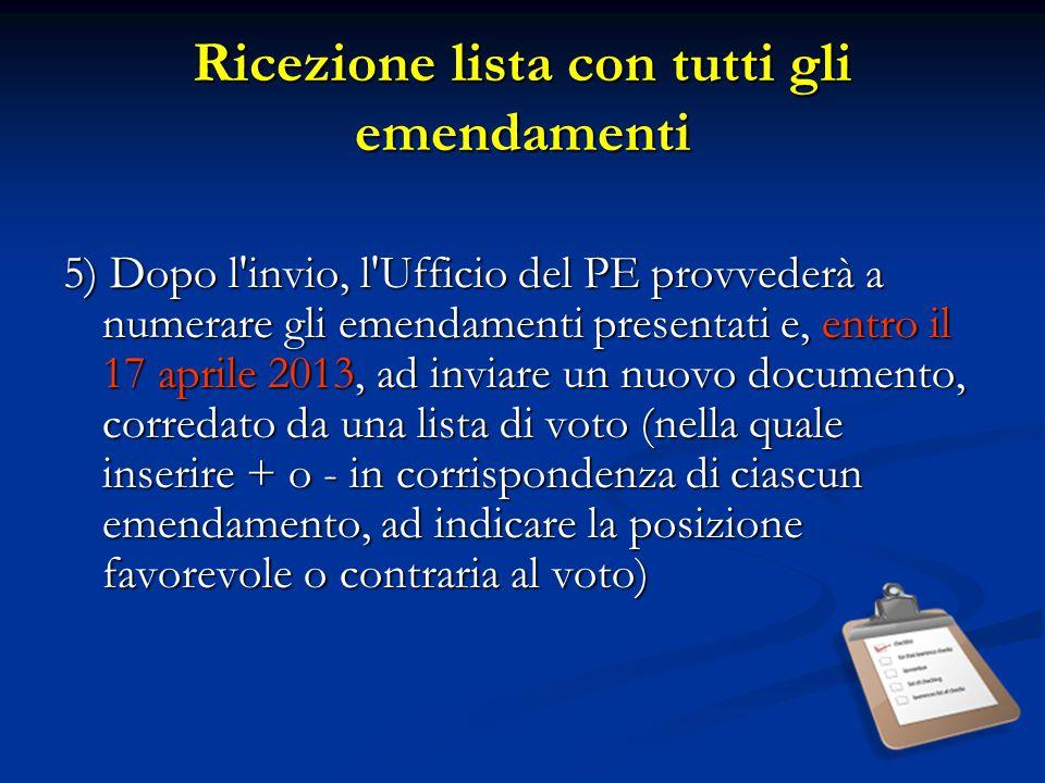 Ricezione lista con tutti gli emendamenti 5) Dopo l'invio, l'Ufficio del PE provvederà a numerare gli emendamenti presentati e, entro il 17 aprile 201