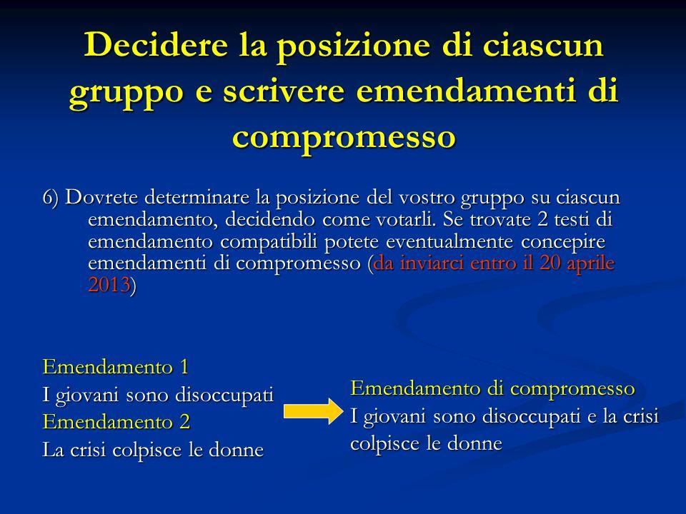 Decidere la posizione di ciascun gruppo e scrivere emendamenti di compromesso 6) Dovrete determinare la posizione del vostro gruppo su ciascun emendamento, decidendo come votarli.