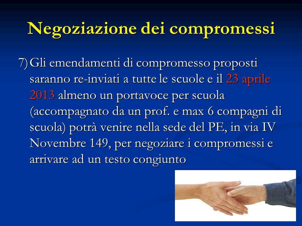 Negoziazione dei compromessi 7)Gli emendamenti di compromesso proposti saranno re-inviati a tutte le scuole e il 23 aprile 2013 almeno un portavoce per scuola (accompagnato da un prof.