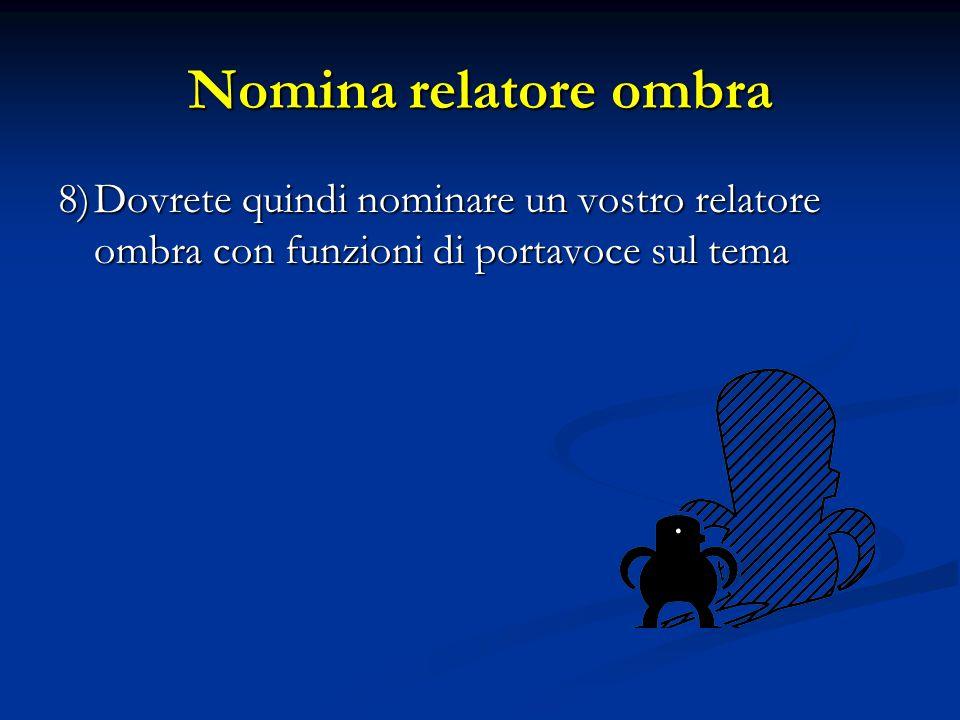 Nomina relatore ombra 8)Dovrete quindi nominare un vostro relatore ombra con funzioni di portavoce sul tema