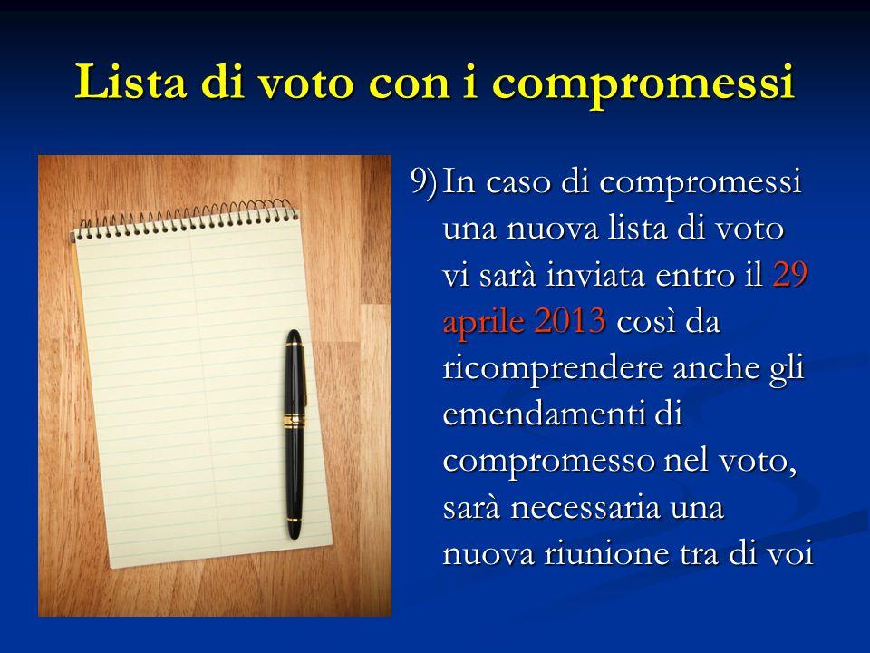 Lista di voto con i compromessi 9)In caso di compromessi una nuova lista di voto vi sarà inviata entro il 29 aprile 2013 così da ricomprendere anche gli emendamenti di compromesso nel voto, sarà necessaria una nuova riunione tra di voi