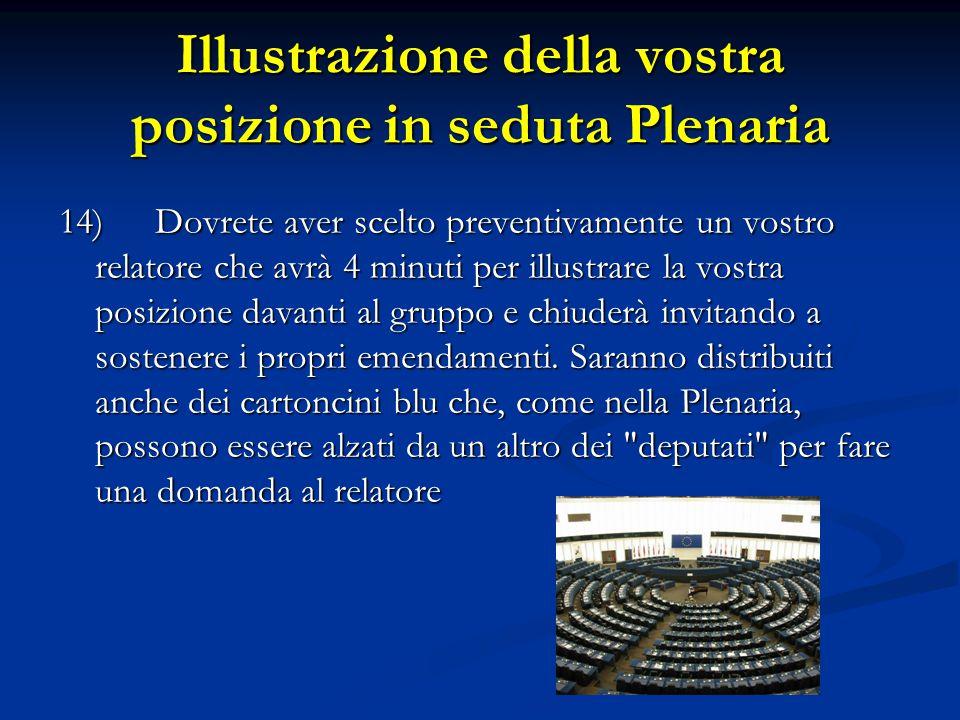 Illustrazione della vostra posizione in seduta Plenaria 14)Dovrete aver scelto preventivamente un vostro relatore che avrà 4 minuti per illustrare la