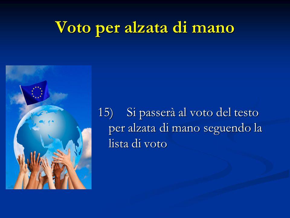 Voto per alzata di mano 15) Si passerà al voto del testo per alzata di mano seguendo la lista di voto