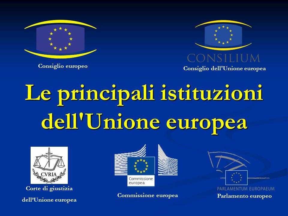 Le principali istituzioni dell'Unione europea Consiglio dell'Unione europea Corte di giustizia dell'Unione europea Parlamento europeo Consiglio europe