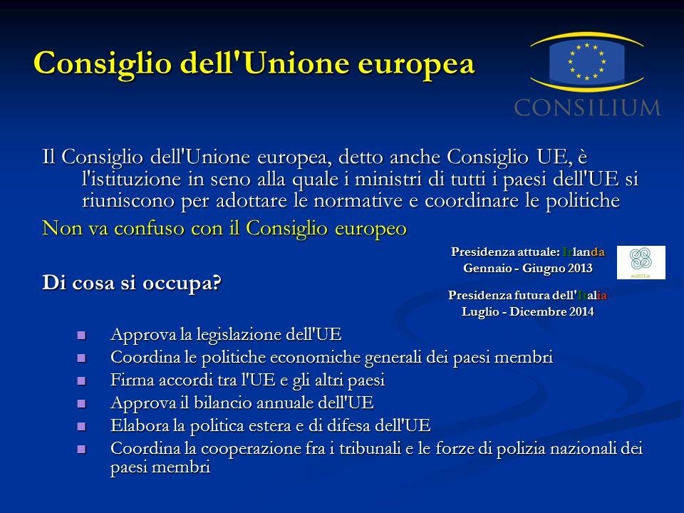 Consiglio dell'Unione europea Il Consiglio dell'Unione europea, detto anche Consiglio UE, è l'istituzione in seno alla quale i ministri di tutti i pae