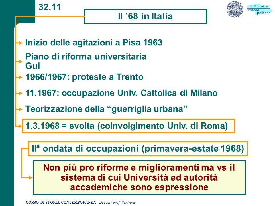 CORSO DI STORIA CONTEMPORANEA Docente Prof. Ventrone 32.11 Il '68 in Italia Inizio delle agitazioni a Pisa 1963 Piano di riforma universitaria Gui 196