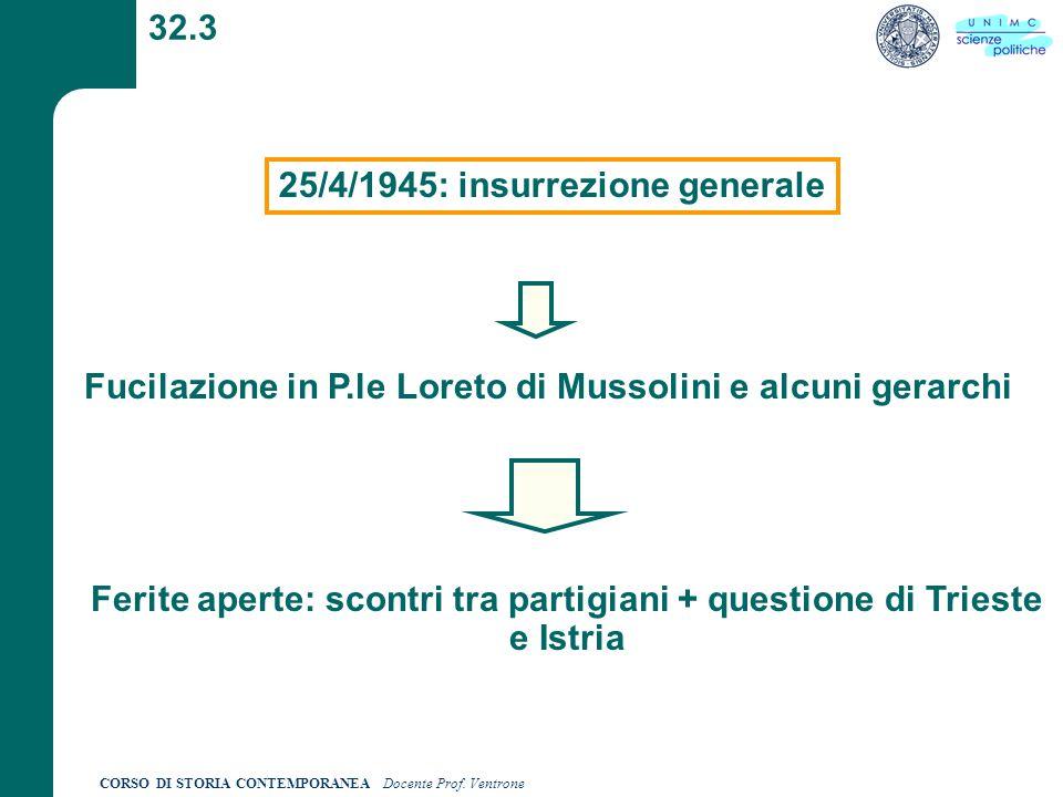 CORSO DI STORIA CONTEMPORANEA Docente Prof. Ventrone 32.3 25/4/1945: insurrezione generale Fucilazione in P.le Loreto di Mussolini e alcuni gerarchi F