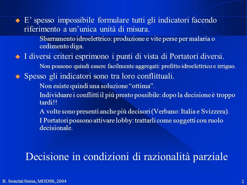 R. Soncini Sessa, MODSS, 2004 2  E' spesso impossibile formulare tutti gli indicatori facendo riferimento a un'unica unità di misura. Sbarramento idr
