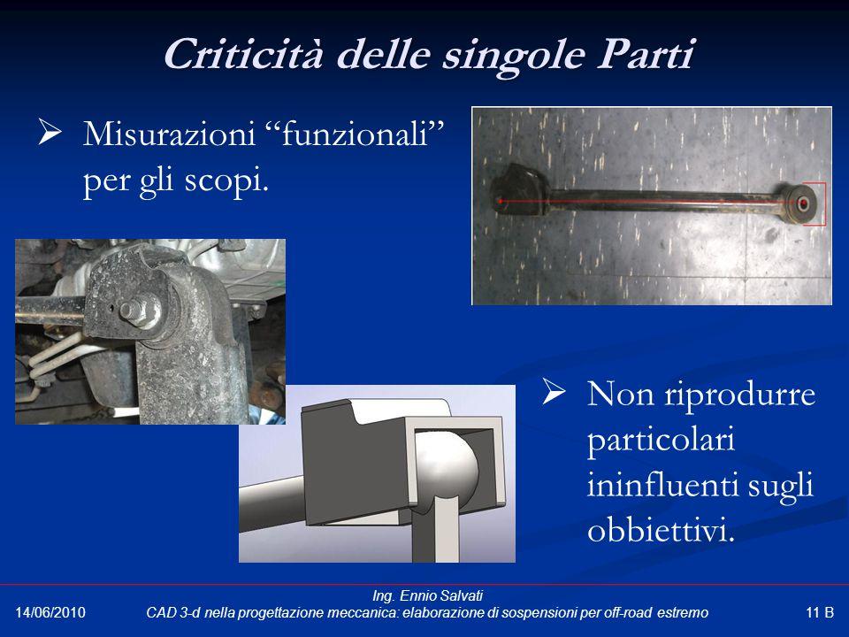 """Criticità delle singole Parti 14/06/2010  Misurazioni """"funzionali"""" per gli scopi.  Non riprodurre particolari ininfluenti sugli obbiettivi. 11 B Ing"""