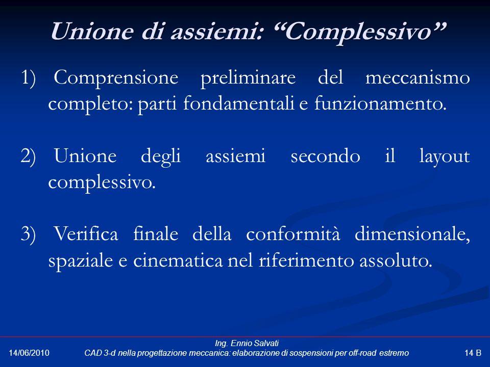 """Unione di assiemi: """"Complessivo"""" 14/06/2010 1) Comprensione preliminare del meccanismo completo: parti fondamentali e funzionamento. 2) Unione degli a"""