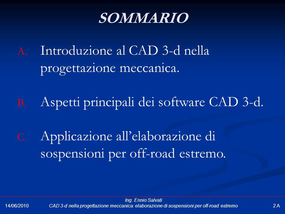 SOMMARIO A. Introduzione al CAD 3-d nella progettazione meccanica. B. Aspetti principali dei software CAD 3-d. C. Applicazione all'elaborazione di sos