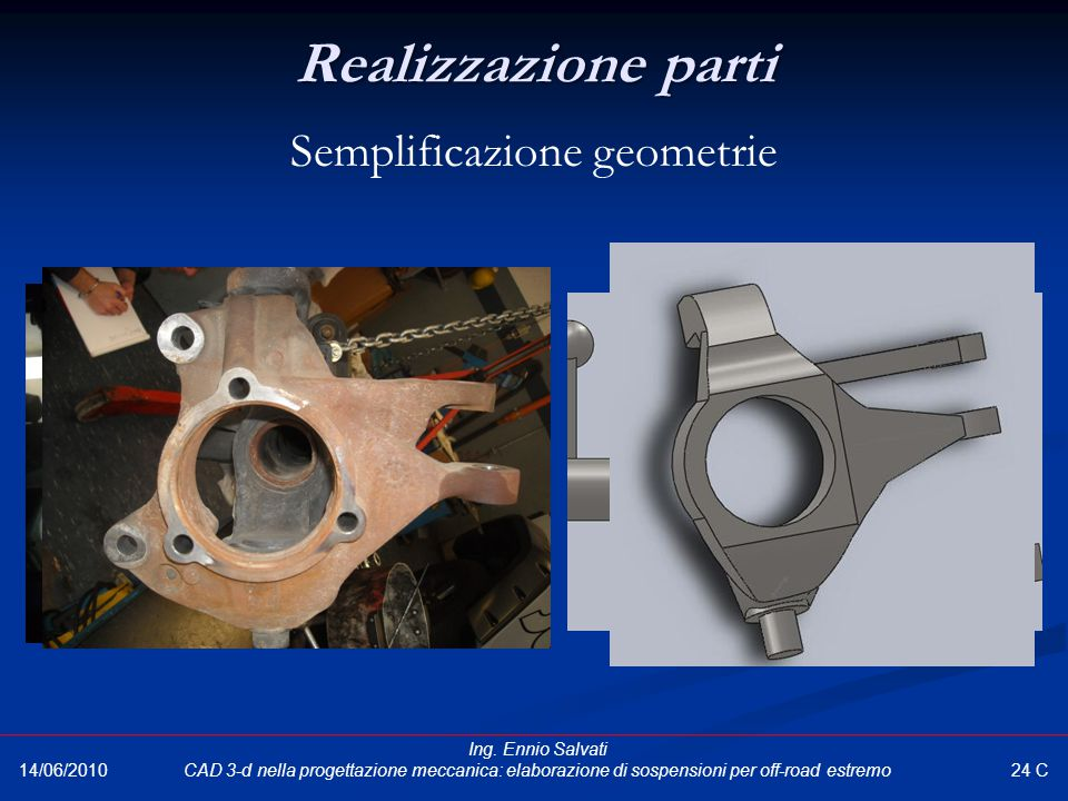 Realizzazione parti Semplificazione geometrie 24 C 14/06/2010 Ing. Ennio Salvati CAD 3-d nella progettazione meccanica: elaborazione di sospensioni pe