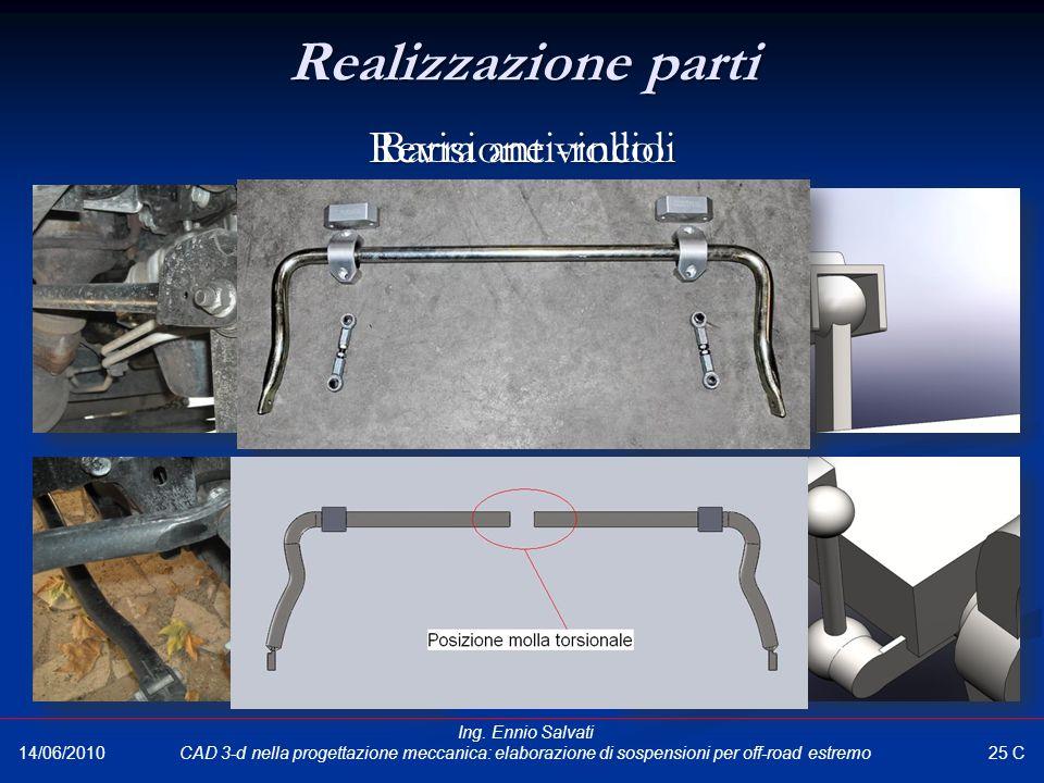 Revisione vincoli Barra anti-rollio Realizzazione parti 25 C 14/06/2010 Ing. Ennio Salvati CAD 3-d nella progettazione meccanica: elaborazione di sosp
