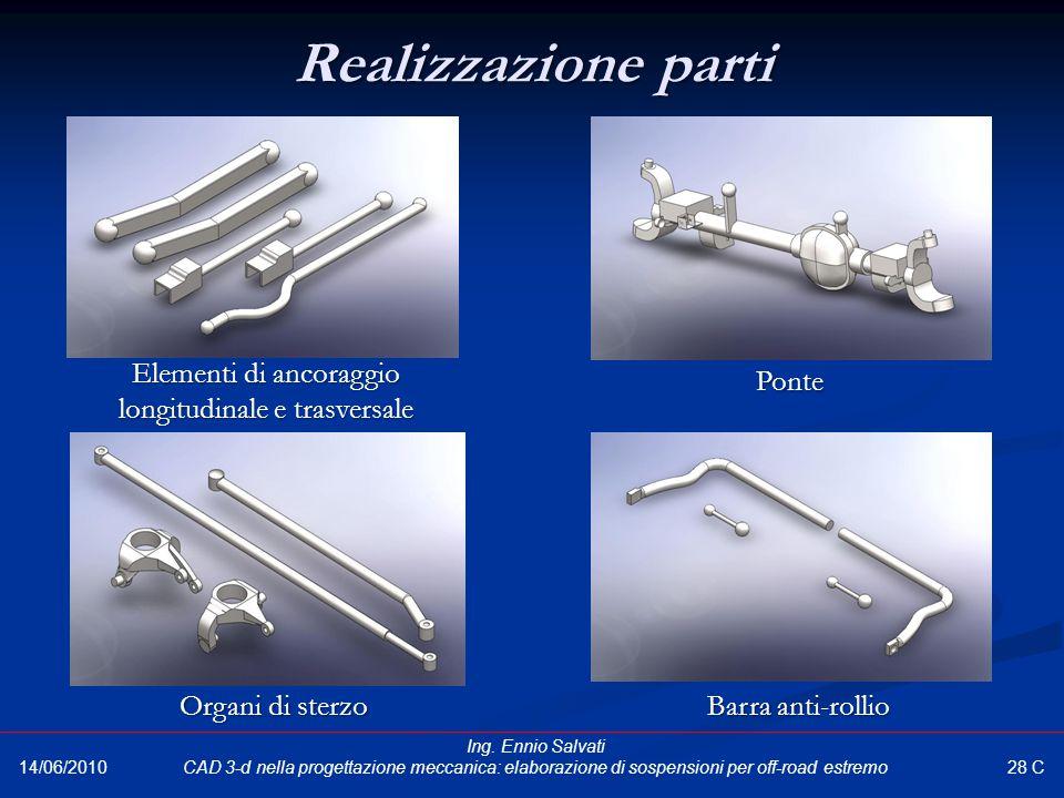 Realizzazione parti Elementi di ancoraggio longitudinale e trasversale Ponte Organi di sterzo Barra anti-rollio 28 C 14/06/2010 Ing. Ennio Salvati CAD