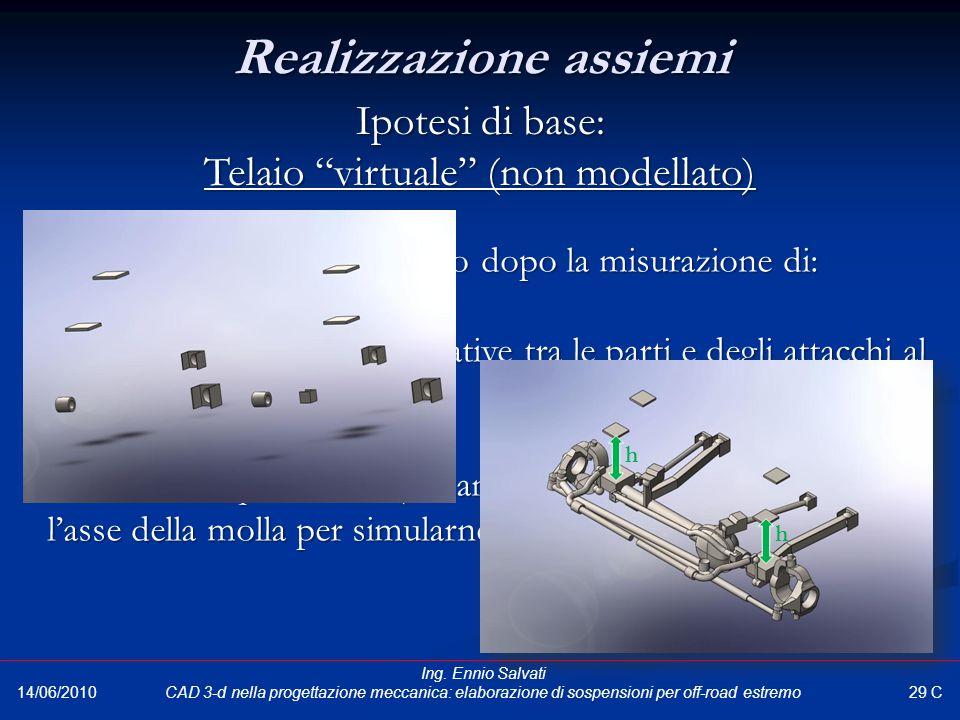 """Assemblaggio parti realizzato dopo la misurazione di: """"punti guida"""" (distanze relative tra le parti e degli attacchi al telaio rispetto al suolo); """"pu"""