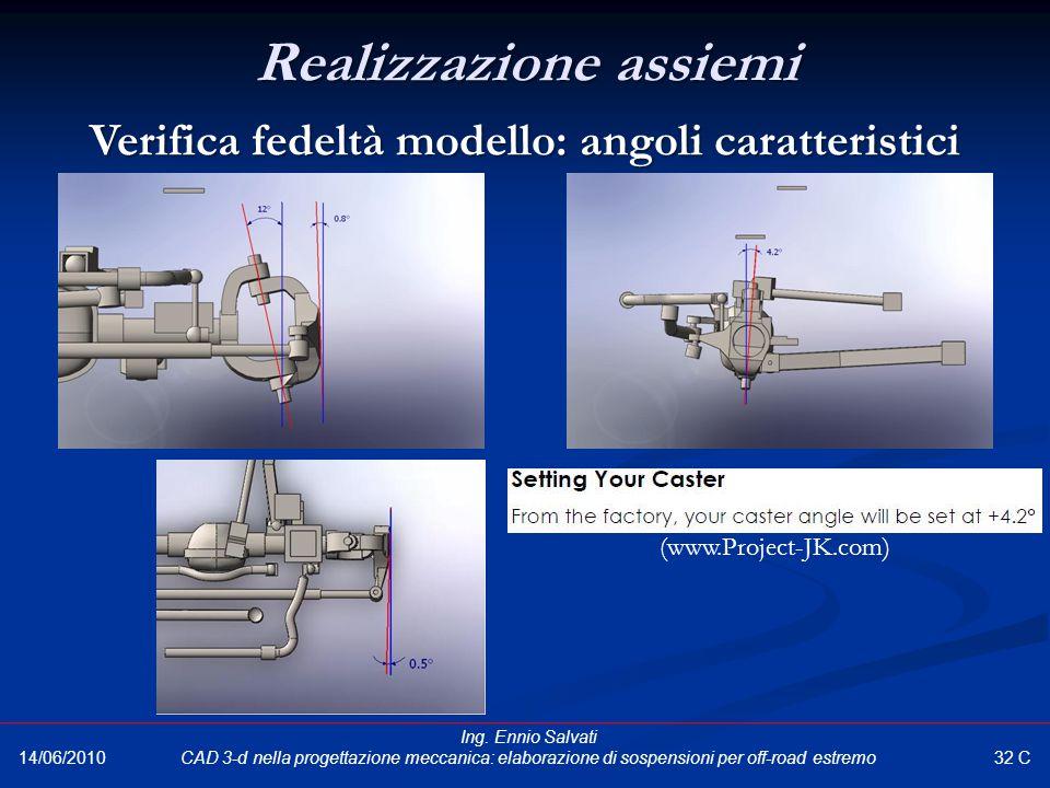 Realizzazione assiemi Verifica fedeltà modello: angoli caratteristici 32 C 14/06/2010 Ing. Ennio Salvati CAD 3-d nella progettazione meccanica: elabor