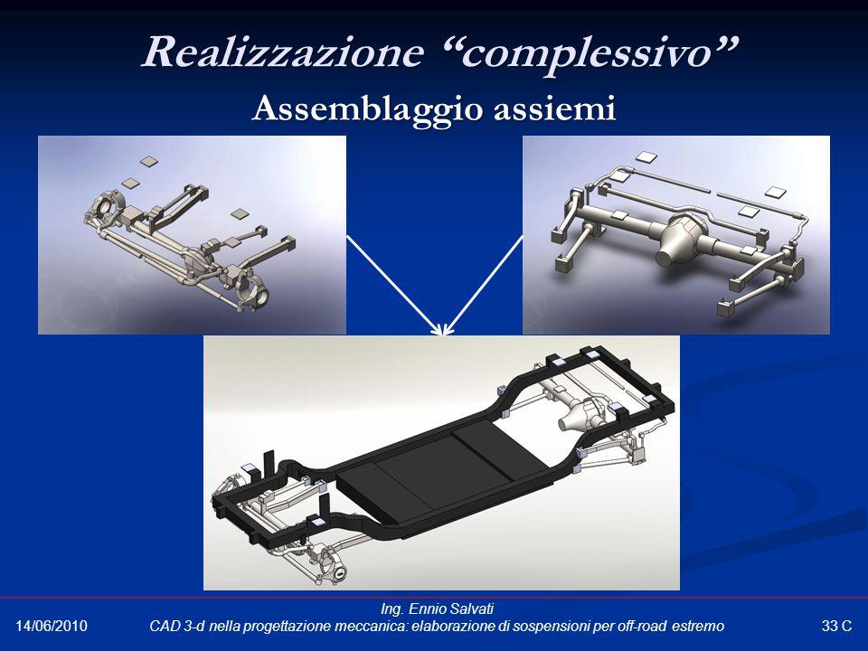 """Realizzazione """"complessivo"""" Assemblaggio assiemi 33 C 14/06/2010 Ing. Ennio Salvati CAD 3-d nella progettazione meccanica: elaborazione di sospensioni"""