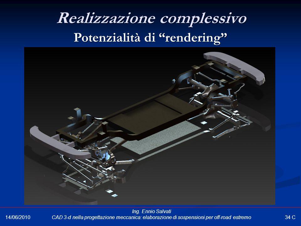 """Realizzazione complessivo Potenzialità di """"rendering"""" 34 C 14/06/2010 Ing. Ennio Salvati CAD 3-d nella progettazione meccanica: elaborazione di sospen"""