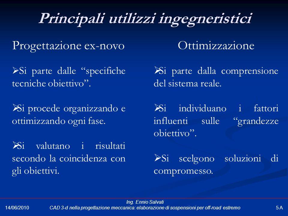 """Principali utilizzi ingegneristici 14/06/2010 Progettazione ex-novo  Si parte dalle """"specifiche tecniche obiettivo"""".  Si procede organizzando e otti"""