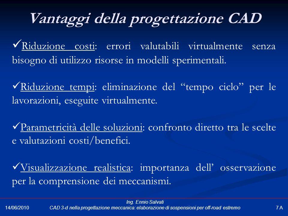 Vantaggi della progettazione CAD 14/06/2010 Riduzione costi: errori valutabili virtualmente senza bisogno di utilizzo risorse in modelli sperimentali.