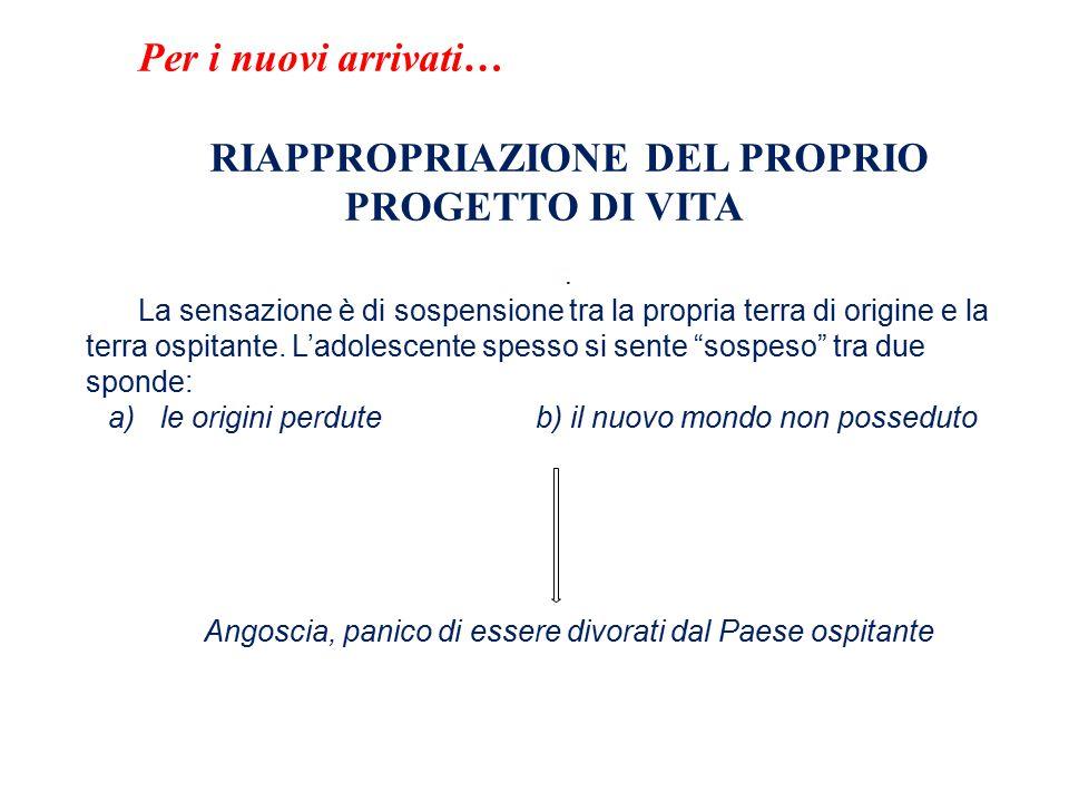 Per i nuovi arrivati… RIAPPROPRIAZIONE DEL PROPRIO PROGETTO DI VITA.