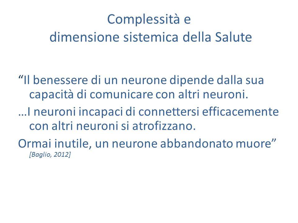 Complessità e dimensione sistemica della Salute Il benessere di un neurone dipende dalla sua capacità di comunicare con altri neuroni.