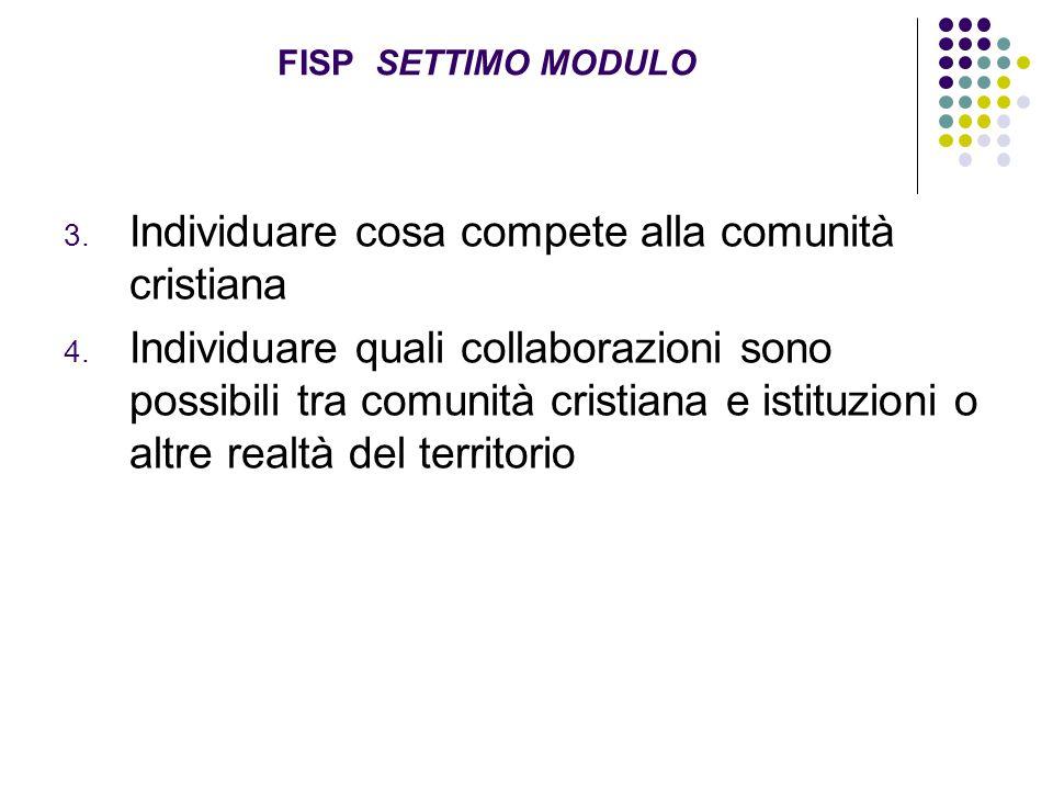 FISP SETTIMO MODULO 3. Individuare cosa compete alla comunità cristiana 4. Individuare quali collaborazioni sono possibili tra comunità cristiana e is
