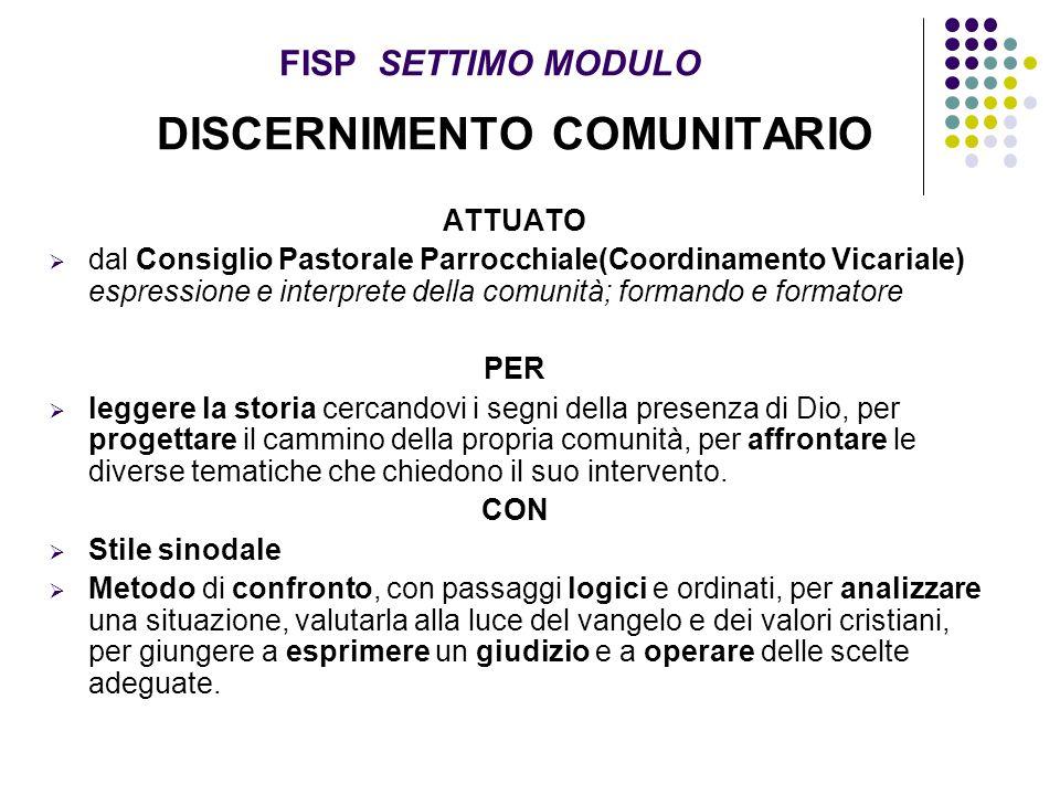 FISP SETTIMO MODULO DISCERNIMENTO COMUNITARIO ATTUATO  dal Consiglio Pastorale Parrocchiale(Coordinamento Vicariale) espressione e interprete della c