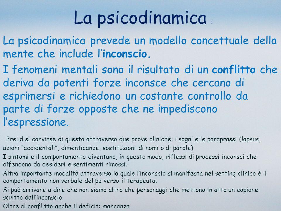 La psicodinamica 2 La psichiatria psicodinamica è un approccio alla diagnosi e alla terapia caratterizzato da un modo di pensare, sia rispetto al paziente sia rispetto al terapeuta, che comprende il conflitto inconscio, carenze e distorsioni delle strutture intrapsichiche e le relazioni oggettuali interne, e integra questi elementi con dati attuali delle neuroscienze Glen Gabbard (2007)