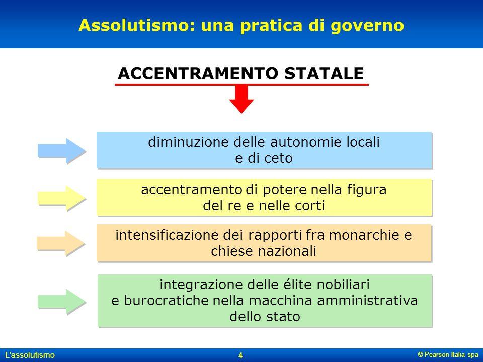 © Pearson Italia spa L'assolutismo 4 Assolutismo: una pratica di governo diminuzione delle autonomie locali e di ceto accentramento di potere nella fi
