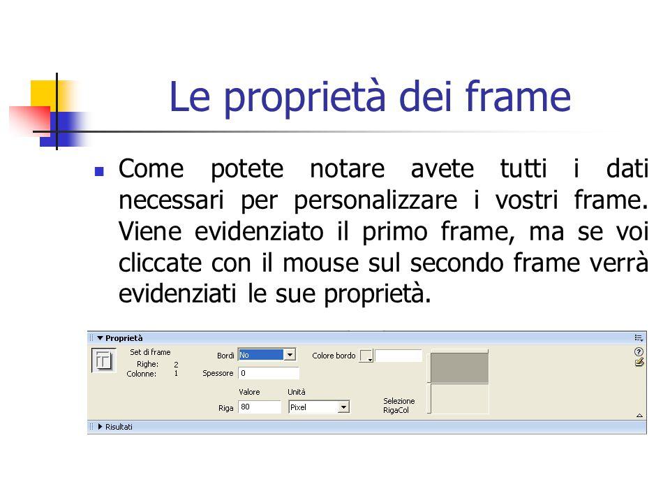 Le proprietà dei frame Come potete notare avete tutti i dati necessari per personalizzare i vostri frame.